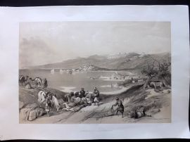 David Roberts Holy Land 1st Ed 1842 Print. Sidon, looking towards Lebanon